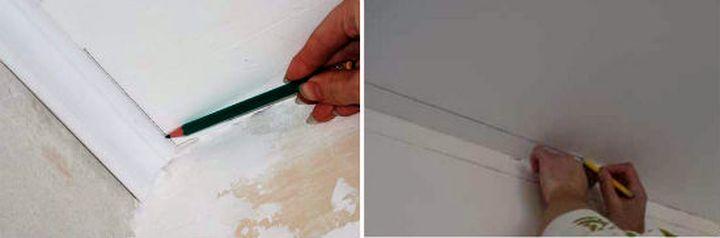 Как сделать уголок на потолке 679