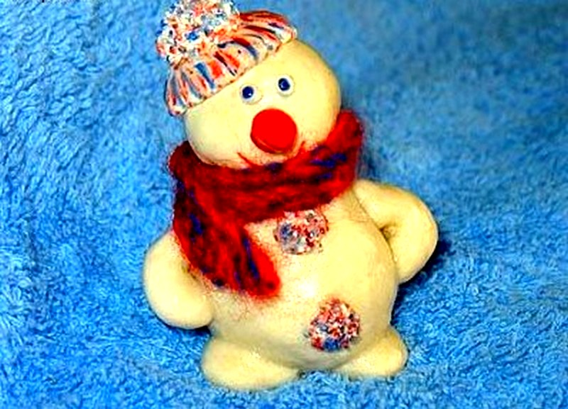 снеговик из соленого теста своими руками пошаговая инструкция